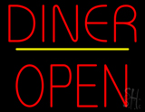 Diner Block Open Yellow Line Neon Sign