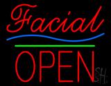 Red Facial Block Open Neon Sign
