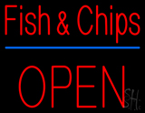Fish and Chips Block Open Neon Sign
