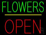 Flowers Block Open Yellow Line Neon Sign