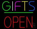 Gifts Block Open Green Line Neon Sign