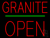 Granite Block Open Green Line Neon Sign