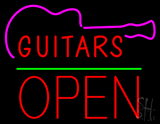Guitars Block Open Green Line Neon Sign
