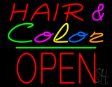 Hair and Color Block Open Green Line Neon Sign