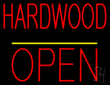 Hardwood Block Open Yellow Line Neon Sign
