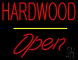 Hardwood Script1 Open Yellow Line Neon Sign