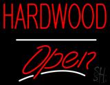 Hardwood Script2 Open White Line Neon Sign