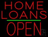 Home Loans Block Open Green Line Neon Sign