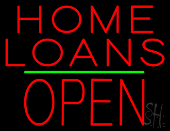 Home Loans Block Open Green Line Neon Sign Home Loans Neon Signs