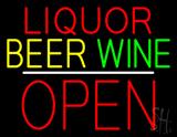 Liquor Beer Wine Block Open White Line Neon Sign