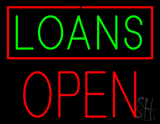 Green Loans Red Border Block Open Neon Sign