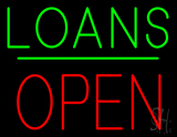 Loans Block Open Green Line Neon Sign