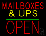 Mail Boxes & UPS Open Block Green Line Neon Sign
