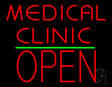 Medical Clinic Block Open Green Line Neon Sign