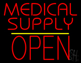 Medical Supply Block Open Yellow Line Neon Sign