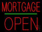 Red Mortgage Block Open Green Line Neon Sign