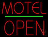 Motel Block Open Green Line Neon Sign