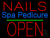 Nails Spa Pedicure Block Open Green Line Neon Sign
