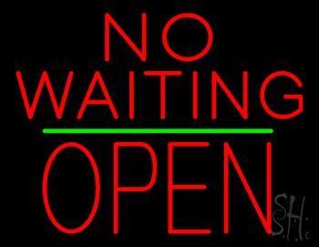 No Waiting Block Open Green Line Neon Sign