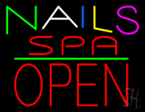 Multi Colored Nails Spa Block Open Green Line Neon Sign