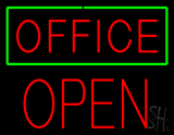 Red Office Green Border Block Open Neon Sign