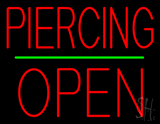 Piercing Block Open Green Line Neon Sign