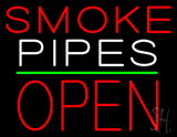 Smoke Pipes Block Open Green Line Neon Sign