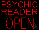 Psychic Reader Block Open Block Green Line Neon Sign