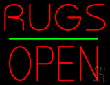 Rugs Block Open Green Line Neon Sign