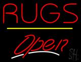 Rugs Script2 Open Yellow Line Neon Sign