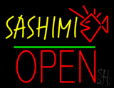 Sashimi Block Open Green Line Neon Sign