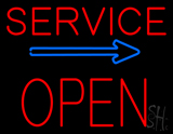 Red Service Block Open Neon Sign