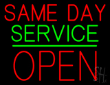 Same Day Service Block Open Green Line Neon Sign
