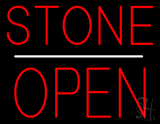 Stone Block Open White Line Neon Sign