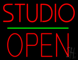 Studio Open Block Green Line Neon Sign