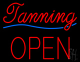 Cursive Red Tanning Block Open Neon Sign