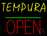 Tempura Block Open Green Line Neon Sign