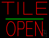 Tile Block Open Green Line Neon Sign