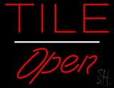 Tile Script1 Open White Line Neon Sign