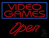 Video Games Blue Border Open Neon Sign
