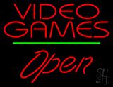 Video Games Open Green Line Neon Sign