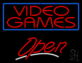 Red Video Games Open Neon Sign