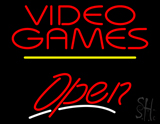 Video Games Open Yellow Line Neon Sign