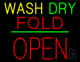 Wash Dry Fold Block Open Green Line Neon Sign