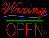 Waxing Block Open Green Line Neon Sign