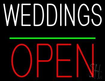 Weddings Block Red Open Green Line Neon Sign