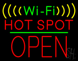 Wi-Fi Hot Spot Block Open Green Line Neon Sign
