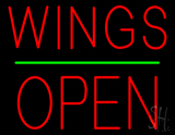 Wings Block Open Green Line Neon Sign