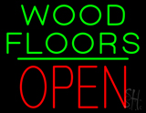 Wood Floors Block Open Green Line Neon Sign