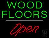 Wood Floors Script1 Open White Line Neon Sign